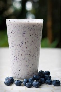 Blueberry-Oatmeal Smoothie --- this smoothie is DELICIOUS! Had to add a little water in it because I did two bananas and it was really thick. Also added flax, chia and a blueberry muffin yogurt. But SO YUMMY!