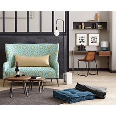 Tie your living room, bedroom or dining area together with modern area rugs. Sofas For Small Spaces, Small Space Living, Apartment Design, Apartment Living, Living Room, Apartment Ideas, Small Coffee Table, Coffee Tables, D 40