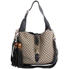 655fe024f81 Gucci Jackie Diamante Canvas Hobo Bag Medim - black grey