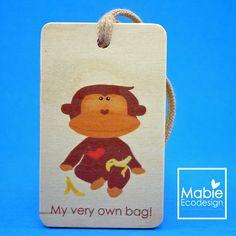 Identificateur de sac Singe - étiquette de voyage - accessoire en bois - fait au Québec - Création originale de la boutique MabieEcodesign sur Etsy