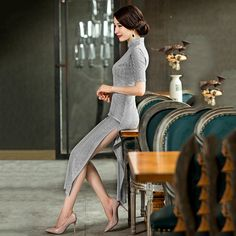 Cheongsam shoulder fishtail dress            https://www.ichinesedress.com/