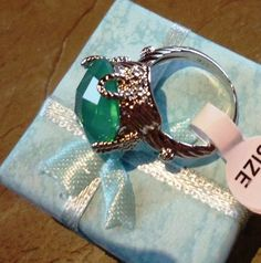 Green Princess Silver Cocktail Ring White GP. Starting at $1