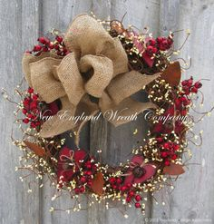 Valentine Wreath, Primitive Wreath, Pip Berry Wreath, Rusty Hearts, Country Cottage Wreath, Rustic Valentines Decor    Country Hearts and