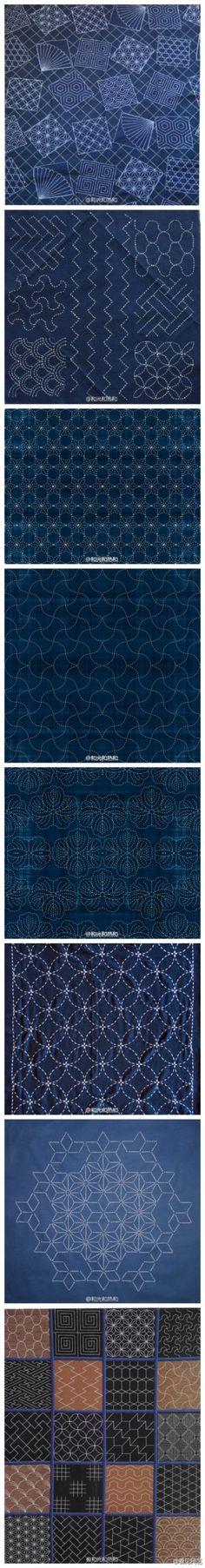 """Sashiko (刺し子)是指用白线在靛染蓝布上刺绣重复的简单几何图案。这种技巧最早是用来表现水波,或者用来缝补衣服加以装饰。但是日本人的美学意识却可以点石成金,把它变成一种褪却所有技巧的""""大巧"""",以直截了当的方式指向了审美的根本"""
