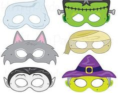 Halloween Masks printable halloween costume por HappilyAfterDesigns