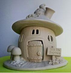 Toad House, Gnome House, Clay Fairy House, Fairy Houses, Mason Jar Garden, Mason Jars, Clay Fairies, Fairy Crafts, Pottery Clay