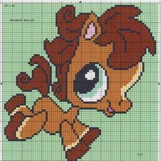 PETSHOP Cross Stitch Horse, Beaded Cross Stitch, Cross Stitch Animals, Cross Stitch Patterns, Pixel Art, Stitch Character, Little Pet Shop, Baby Dragon, Beading Patterns
