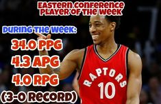 REPORT: Demar DeRozan is named Eastern conference player of the week. During the week he averaged: 34.0 PPG 4.3 APG and 4.0 RPG while going 3-0. . . . . #warriors #nba #basketball #nyknicks #knicks #raptors #torontoraptors #celtics #bostonceltics #sixers #philadelphiasixers #nets #lbj #playoff #heatnation #letsgoheat #ilovethisgame #slam #court #myteam #rockets #ballers #buckets #baloncesto #streetball #ballup #nbamemes #pelicans #hornets #mavericks