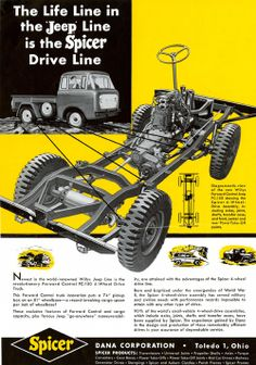 Jeep FC-150 used a Spicer Driveline by Dana Corporation. Ad from 1950s.