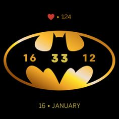 Batman is a simple yellow and black fitbit clockface that displays: - Time (HH : MM) - Date (Day  Month) - Current BPM (Heart Rate)