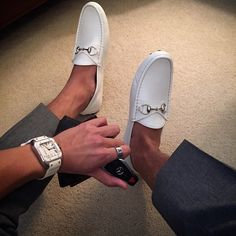 White Gucci Driving Loafers