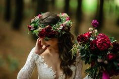 Dom & Tyrone - Adore Weddings Floral Hair, Floral Crown, You Are Beautiful, Beautiful Soul, Floral Headpiece, Forest Wedding, Hair Pieces, Love Story, Burgundy