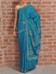 Azure Blue Tussar Silk Saree