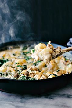 One pot chicken gnocchi with spinach and mushrooms