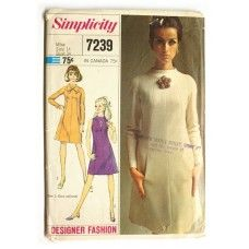 Simplicity 7239 Mod 1960s Dress Sewing Pattern Vintage Bust 34