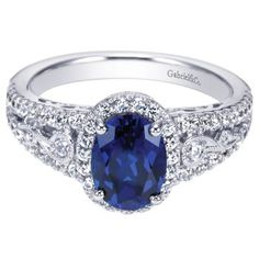 Gabriel & Co. 14K White Gold Oval Sapphire .50 Ctw Diamond Ring #sapphire #jewelry #ring #diamondring
