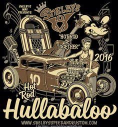 Hot Rod Hullabaloo 2016 T-shirt - black #hotrod #hot #rod #hullabaloo #car #show #event #Tshirt #artwork