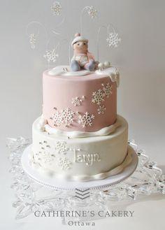 Catherine's Cakery Ottawa: winter birthday cake with snowflakes