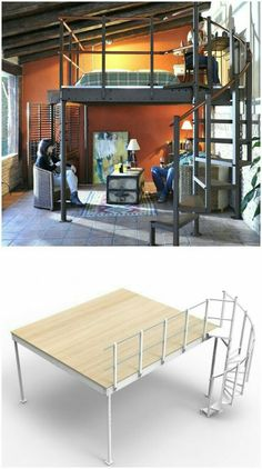The Mezzanine Loft Kit has everything that you need to DIY your own comfy loftg space. The Mezzanine Loft Kit has everything that you need to DIY your own comfy loftg space. Mezzanine Loft, Mezzanine Bedroom, Loft Room, Bedroom Loft, Bedroom Decor, Loft Spaces, Small Spaces, Loft Design, House Design