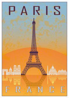 Paris vintage poster in orange and blue textured background with skyline in white. Free art print of Paris vintage poster. Vintage French Posters, Vintage Travel Posters, Old Poster, Retro Poster, Free Art Prints, Wall Art Prints, Plan Paris, Paris Vintage, Illustrations Vintage