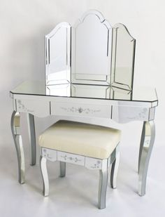 Set Of Two Mirrored Glass Bedside Tables Cabinets Venetian