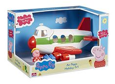 Take off in Peppa's Jet for some holiday sunshine! Open up the baggage compartment and load in Peppa's suitcases. Open up the door and Peppa can board her flight! Includes articulated Peppa figure and...