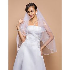 This one too! Two-tier Fingertip Wedding Veil With Beaded Edge And Sequins – USD $ 29.99