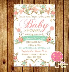 Hey, I found this really awesome Etsy listing at https://www.etsy.com/listing/257159906/shabby-chic-baby-shower-invitation-peach