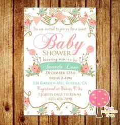 Shabby Chic Baby Shower Invitation, Peach and Mint Baby Shower, Floral Baby Shower Invite