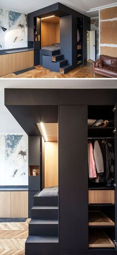Interior design firm Batiik Studio, have transformed a run down Parisian apartment into to a functional space with a custom built lofted bed unit