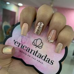 Shiny Nails, Chrome Nails, Love Nails, Fun Nails, Square Acrylic Nails, Gold Glitter Nails, Gorgeous Nails, Simple Nails, Manicure And Pedicure