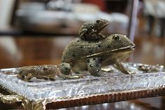 Fancy frog, looks like brass or gold plated look.  Up for auction at Rusty by Design.