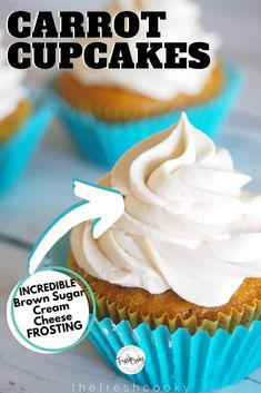 This recipe for carrot cupcakes with brown sugar cream cheese frosting are moist, and tender, topped with this AH-mazing brown sugar cream cheese frosting. Cupcakes Fall, Carrot Cake Cupcakes, Yummy Cupcakes, Spring Recipes, Easter Recipes, Easy To Make Desserts, Food To Make, Mothers Day Desserts, High Altitude Baking