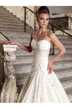 Taffeta Hand-Draped Sweetheart A-line Wedding Dress