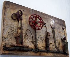 Large Assemblage Art Wall Flower On Reclaimed Wood With Rusty Salvage, Farm  Gear, Architectural Elements And Wire Art With Bee And Bird (1) |  Assemblage Art ...