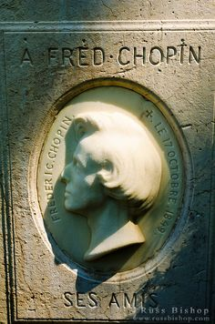 Bust on Frédéric Chopin's grave at Père Lachaise Cemetery, Paris, France