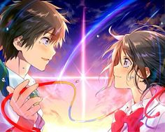 君の名は。 Kimi no Na wa Film Manga, Film Anime, Manga Anime, Wallpaper Animes, Animes Wallpapers, Hd Wallpaper, Couple Wallpaper, Heart Wallpaper, Fan Art