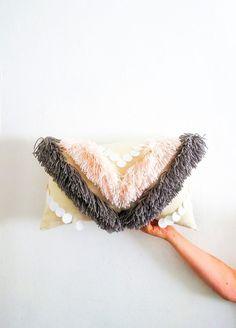 DIY Yarn Fringe Throw Pillow by Ashley Rose of Sugar & Cloth, a top lifestyle blog in Houston, Texas #pillow #diy #homedecor