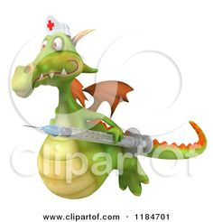 Clipart of a 3d Green Dragon Nurse Flying with a Vaccine Syringe - Royalty Free CGI Illustration by Julos