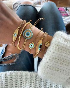 "2,561 Likes, 49 Comments - Anna Skoog (@annamavridis) on Instagram: ""✨Gold and turquoise✨ @suesensi bracelets #mixoftheday #armcandy #evileye #gold #turquoise"""