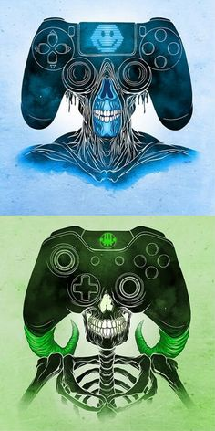 and XBoxOne controller monsters by Alex Pardee - Playstation - Ideas of Playstation Alex Pardee, Playstation Games, Ps4 Games, Ps Wallpaper, Mundo Dos Games, Gaming Wallpapers, Gaming Memes, Video Game Art, Xbox One