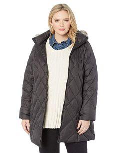 92d2428aed7 Jones New York Women's Plus Size Down Coat with Cozy-Trimmed Hood