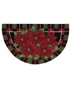 """Closeout! Nourison Rugs, Holiday Poinsettia """"40x24"""" Slice - Black"""