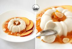 Almond Panna Cotta, served with a super deliscious peach-maple syrup confit !!