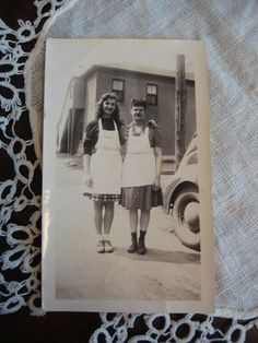 Photo of 2 Young Women in Aprons, Friends at work, 1940's, Hairstyles, Black & White