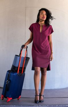 Survive transcontinental flights or dazzle at happy hour in the ultra-comfy, wrinkle-resistant Reversible Travel Tunic. Whether you wear it as part of the entire Travel Dress Suit or mix and max the pieces, you'll transition effortlessly in and out of any environment with style. Best of all, the dress is reversible: professional on one side, party on the other!