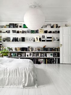 Monochrome bedroom bookcase