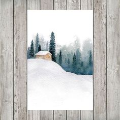 Snowy Cabin in the Forest Mini Watercolor Calendar for Journal or Planner - Pins-art, painting, malen, Kunst - Pictures on Wall ideas Watercolor Christmas Cards, Watercolor Cards, Watercolor Illustration, Watercolor Painting Techniques, Painting & Drawing, Watercolor Paintings, Watercolor Projects, Watercolor Ideas, Watercolor Artists
