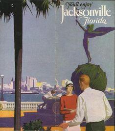 vintage Florida ad of Downtown Jacksonville, Florida.