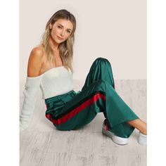 SheIn(sheinside) Striped Side Tailored Wide Leg Pants (31 BAM) via Polyvore featuring pants, high waisted loose pants, long wide leg pants, long pants, wide leg trousers i green high waisted pants